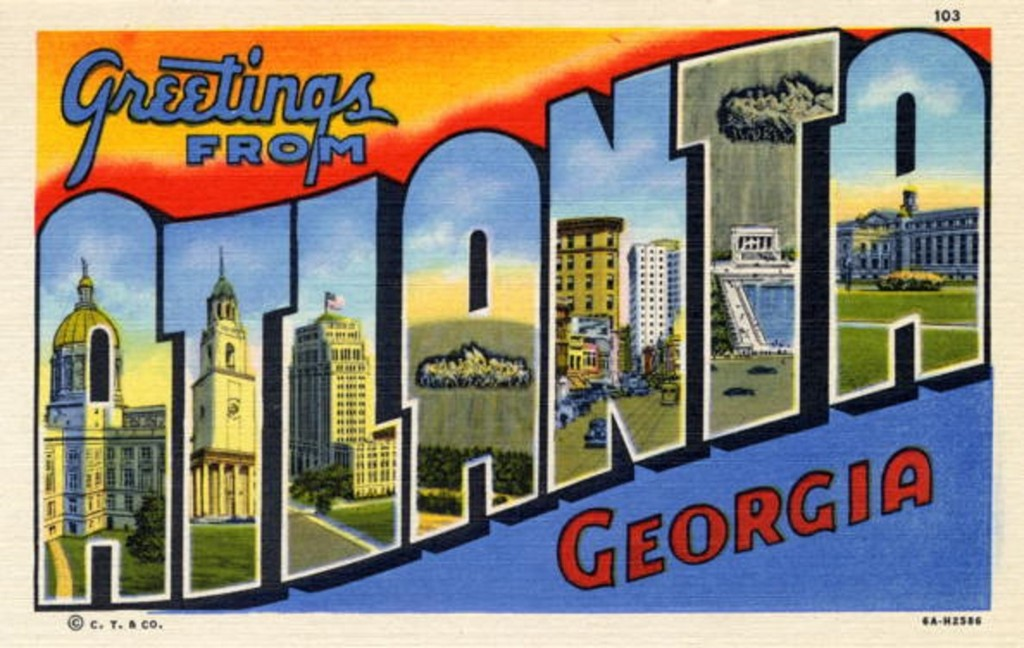 Greetings from Atlanta, GA, a large letter postcard from Atlanta, Georgia showing views of the city in each letter, 1936. (Photo by Lake County Museum/Getty Images)