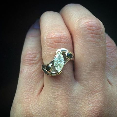 Collaboration ring between Luana and Josh, made with 14k palladium white gold, and 18k yellow. Marquis moissanite and 2 tourmalines.
