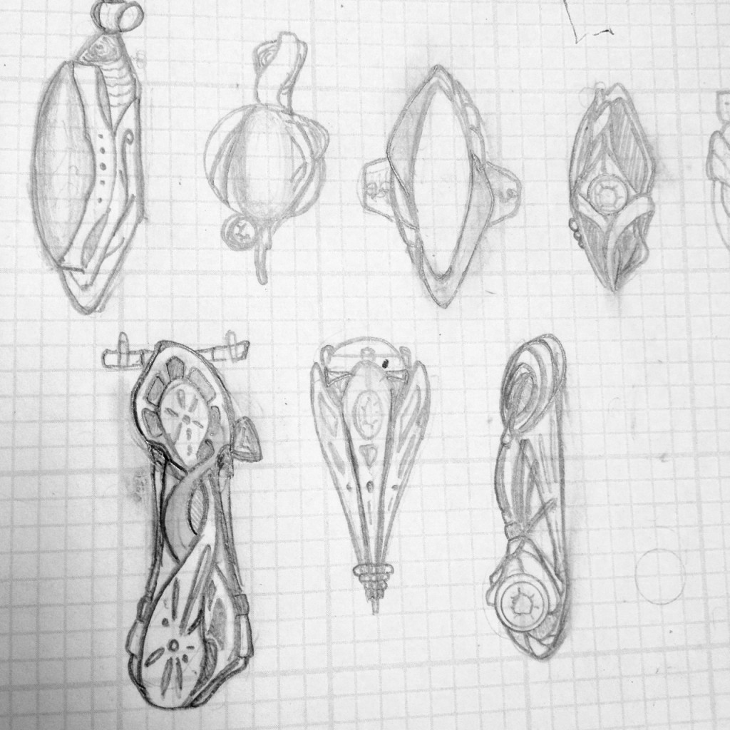 Part of Josh Wendler's process for designing and creating jewelry.