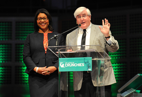 SAN FRANCISCO, CA - FEBRUARY 05: (L-R) London Breed, President of the San Francisco Board of Supervisors and Ron Conway of SV Angel speak onstage during the TechCrunch 8th Annual Crunchies Awards at the Davies Symphony Hall on February 5, 2015 in San Francisco, California. (Photo by Steve Jennings/Getty Images for TechCrunch)