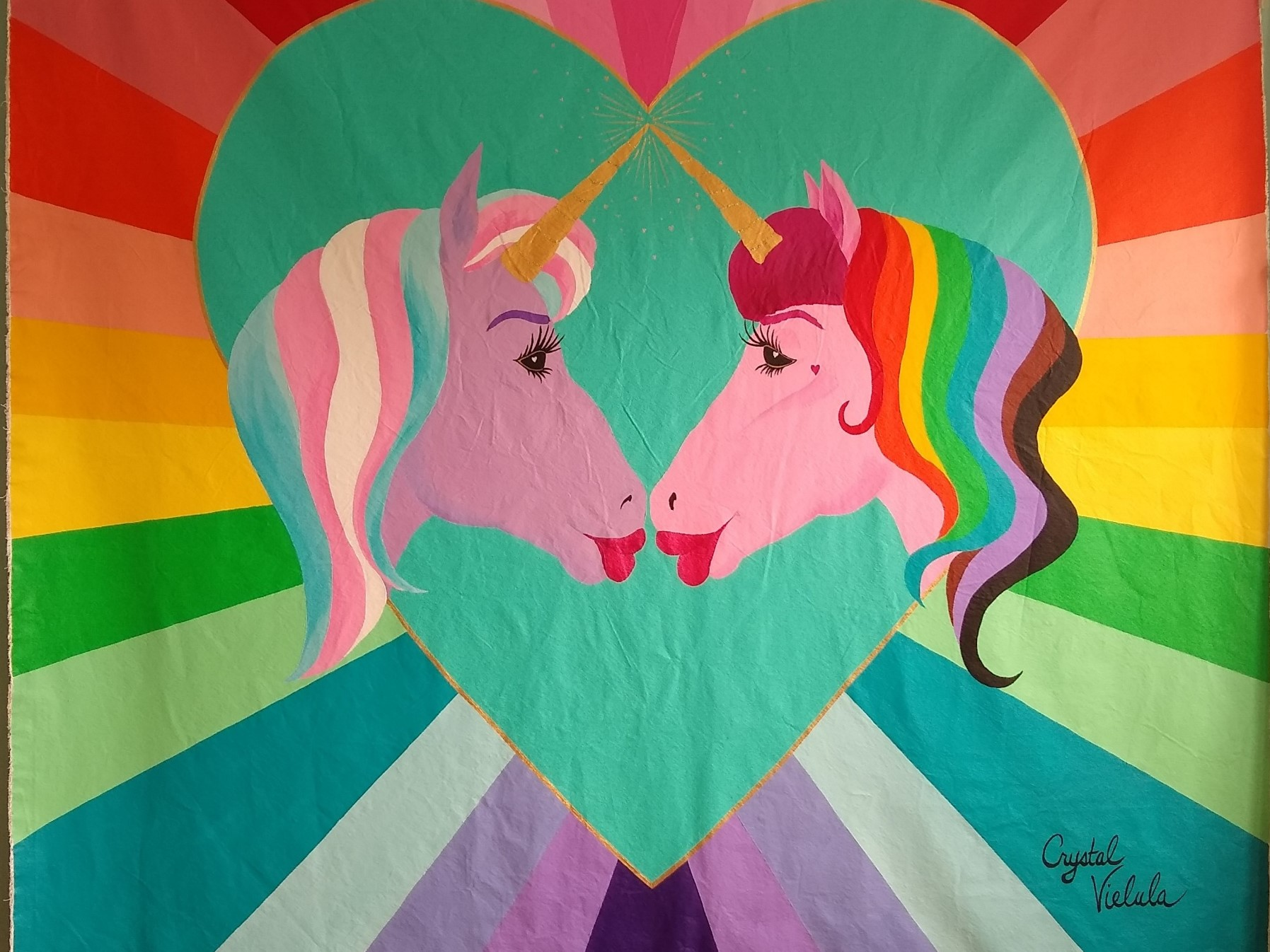 This is 8ft x 9ft mural by Crystal, will appear at SF Pride 2019, you can find at the T-Mobile installation at the Civic Center